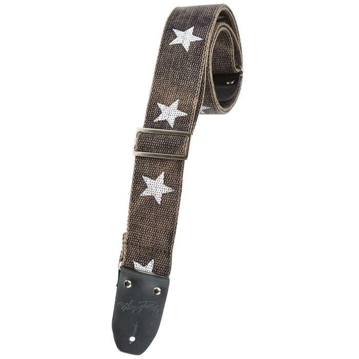 Henry Heller HCOTRV Distressed Black with Stars 2-Inch Cotton Guitar Strap